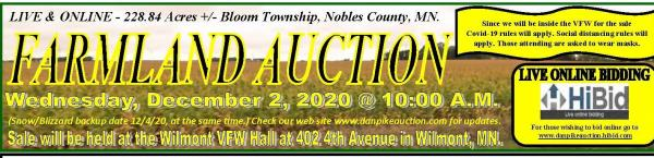 Due to Covid-19 Regulations / Restrictions ONLY those that register as bidders will be allowed into the auction.     Live & On-Line 228.84 Acres Farmland Auction