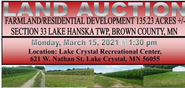 Bruss Family Farmland & Residential Development 135.23 Acre Land Auction